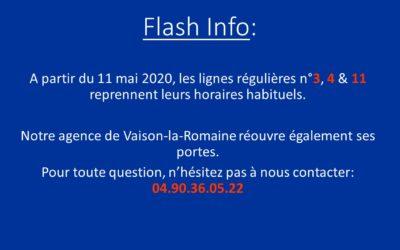 Attention: Mise à jour horaires Lignes 3,4 et 11 – Réouverture de notre agence à Vaison-la-Romaine